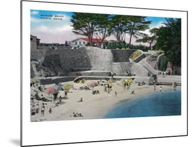 Bathing Beach at Pacific Grove - Pacific Grove, CA-Lantern Press-Mounted Art Print
