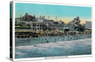 Beach in front of the Bath House, Long Beach - Long Beach, CA-Lantern Press-Stretched Canvas Print