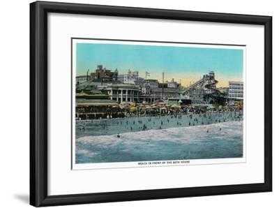 Beach in front of the Bath House, Long Beach - Long Beach, CA-Lantern Press-Framed Art Print