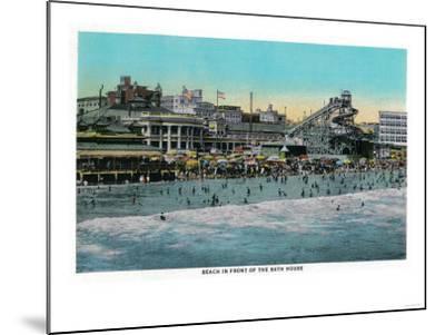 Beach in front of the Bath House, Long Beach - Long Beach, CA-Lantern Press-Mounted Art Print