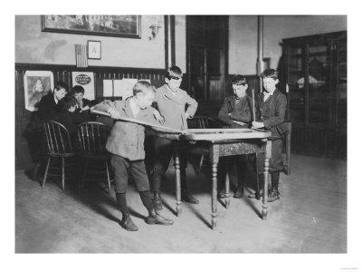 Boys Playing Pool at the United Worker's Boys Club Photograph - New Haven, CT-Lantern Press-Framed Art Print