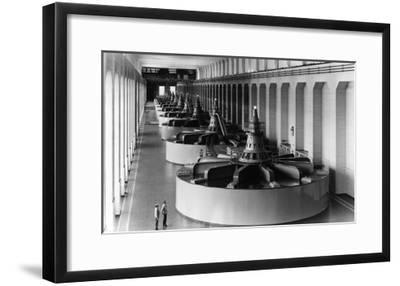 Bonneville Dam View of Generators Photograph - Bonneville Dam, WA-Lantern Press-Framed Art Print