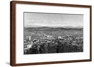 Bellingham, WA Town View from Sehome Hill Photograph No.1 - Bellingham, WA-Lantern Press-Framed Art Print