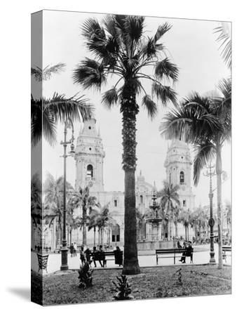 Cathedral in the Plaza de Armas in Peru Photograph - Lima, Peru-Lantern Press-Stretched Canvas Print