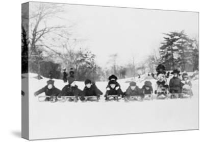 Children on Sleds in Central Park Photograph No.1 - New York, NY-Lantern Press-Stretched Canvas Print