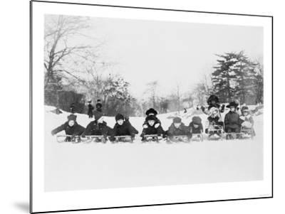 Children on Sleds in Central Park Photograph No.1 - New York, NY-Lantern Press-Mounted Art Print