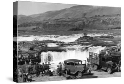 Celilo Falls, Oregon Columbia Gorge Indians Fishing Photograph No.1 - Celilo Falls, OR-Lantern Press-Stretched Canvas Print