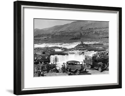 Celilo Falls, Oregon Columbia Gorge Indians Fishing Photograph No.1 - Celilo Falls, OR-Lantern Press-Framed Art Print