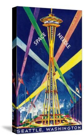 Space Needle Opening Day Poster - Seattle, WA-Lantern Press-Stretched Canvas Print