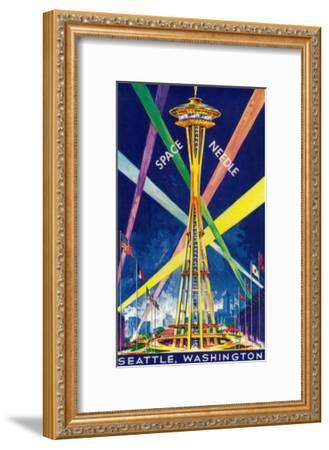 Space Needle Opening Day Poster - Seattle, WA-Lantern Press-Framed Art Print