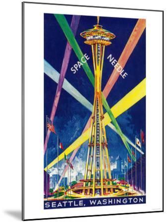 Space Needle Opening Day Poster - Seattle, WA-Lantern Press-Mounted Art Print
