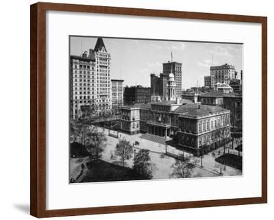 City Hall in New York City Photograph - New York, NY-Lantern Press-Framed Art Print