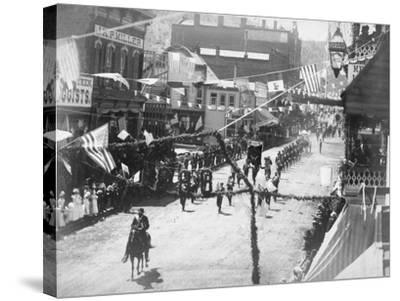 Citizens of Deadwood Celebrate Completion of Railroad No.2 Photograph - Deadwood, SD-Lantern Press-Stretched Canvas Print