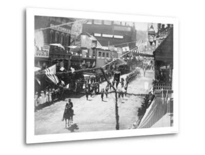Citizens of Deadwood Celebrate Completion of Railroad No.2 Photograph - Deadwood, SD-Lantern Press-Metal Print