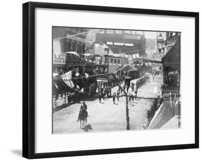Citizens of Deadwood Celebrate Completion of Railroad No.2 Photograph - Deadwood, SD-Lantern Press-Framed Art Print