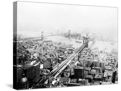 Brooklyn & Manhattan Bridges NYC Photo - New York, NY-Lantern Press-Stretched Canvas Print