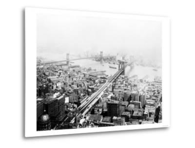 Brooklyn & Manhattan Bridges NYC Photo - New York, NY-Lantern Press-Metal Print