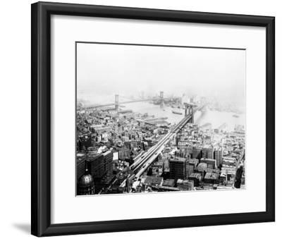 Brooklyn & Manhattan Bridges NYC Photo - New York, NY-Lantern Press-Framed Art Print
