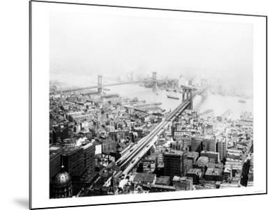 Brooklyn & Manhattan Bridges NYC Photo - New York, NY-Lantern Press-Mounted Art Print