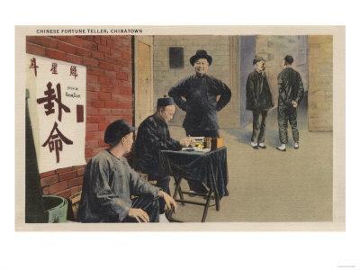 Chinese Fortune Tellers in Chinatown San Francisco, CA - San Francisco, CA-Lantern Press-Framed Art Print
