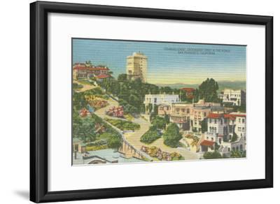 San Francisco, CA - Lombard St. Crooked Street View-Lantern Press-Framed Art Print