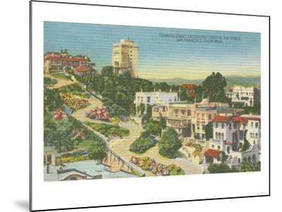 San Francisco, CA - Lombard St. Crooked Street View-Lantern Press-Mounted Art Print