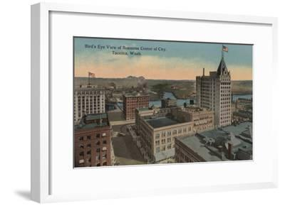 Tacoma, WA - Bird's Eye View of Downtown-Lantern Press-Framed Art Print
