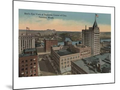 Tacoma, WA - Bird's Eye View of Downtown-Lantern Press-Mounted Art Print