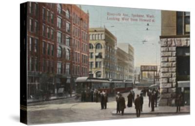 Spokane, WA - View of Riverside Ave. & Howard St.-Lantern Press-Stretched Canvas Print