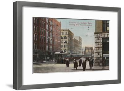 Spokane, WA - View of Riverside Ave. & Howard St.-Lantern Press-Framed Art Print