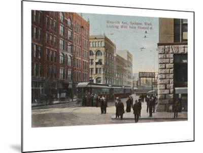 Spokane, WA - View of Riverside Ave. & Howard St.-Lantern Press-Mounted Art Print