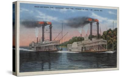 St. Louis, MO - View of Natchez & Robert E. Lee-Lantern Press-Stretched Canvas Print