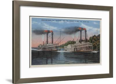 St. Louis, MO - View of Natchez & Robert E. Lee-Lantern Press-Framed Art Print