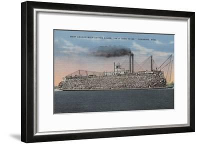 Vicksburg, MS - View of Boat with Cotton Onboard-Lantern Press-Framed Art Print