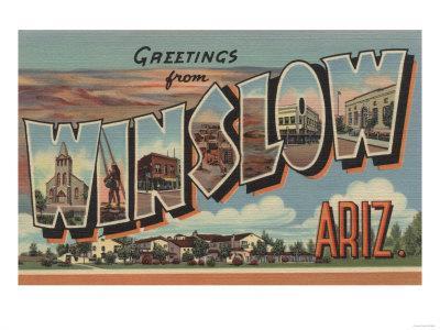 Winslow, Arizona - Large Letter Scenes-Lantern Press-Framed Art Print