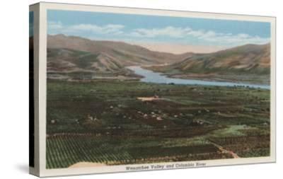 Wenatchee, WA - View of Valley & Columbia River-Lantern Press-Stretched Canvas Print
