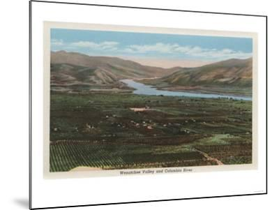 Wenatchee, WA - View of Valley & Columbia River-Lantern Press-Mounted Art Print