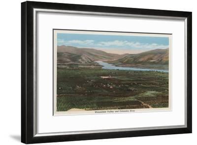 Wenatchee, WA - View of Valley & Columbia River-Lantern Press-Framed Art Print