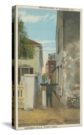 St. Augustine, FL - View of Treasury Street & Man-Lantern Press-Stretched Canvas Print