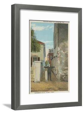 St. Augustine, FL - View of Treasury Street & Man-Lantern Press-Framed Art Print