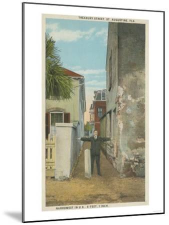 St. Augustine, FL - View of Treasury Street & Man-Lantern Press-Mounted Art Print