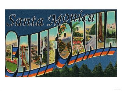 Santa Monica, California - Large Letter Scenes-Lantern Press-Framed Art Print
