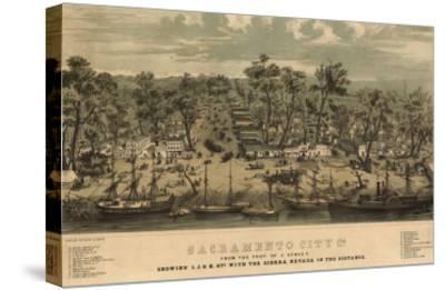 Sacramento, California - Panoramic Map No. 1-Lantern Press-Stretched Canvas Print
