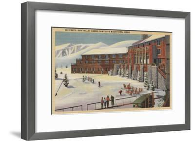 Sun Valley, ID - Ski Party at Lodge Sawtooth Mountains-Lantern Press-Framed Art Print
