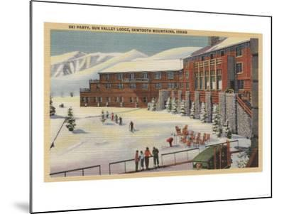 Sun Valley, ID - Ski Party at Lodge Sawtooth Mountains-Lantern Press-Mounted Art Print