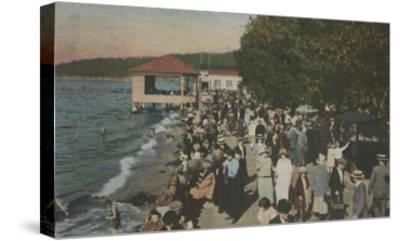 Seattle, WA - Boardwalk at Alki Point, Beach, and Crowds-Lantern Press-Stretched Canvas Print