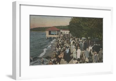 Seattle, WA - Boardwalk at Alki Point, Beach, and Crowds-Lantern Press-Framed Art Print