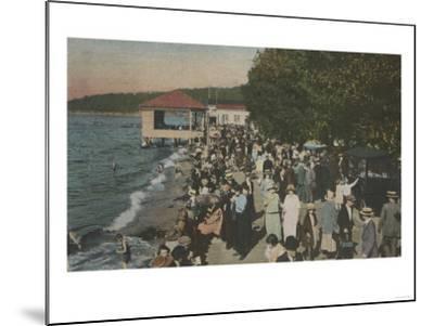 Seattle, WA - Boardwalk at Alki Point, Beach, and Crowds-Lantern Press-Mounted Art Print