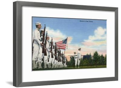 US Navy View - Salute to the Colors Formation-Lantern Press-Framed Art Print
