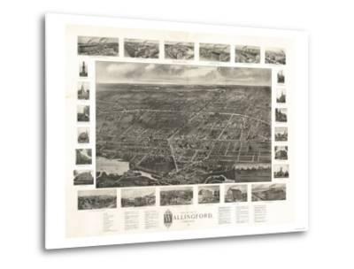 Wallingford, Connecticut - Panoramic Map-Lantern Press-Metal Print